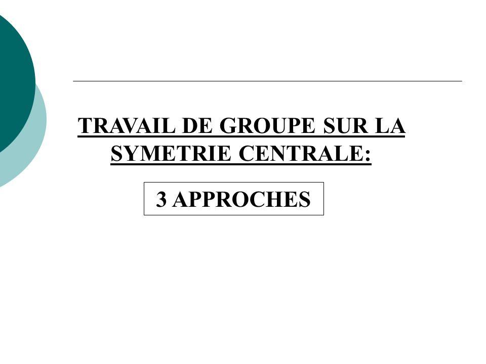 TRAVAIL DE GROUPE SUR LA SYMETRIE CENTRALE: