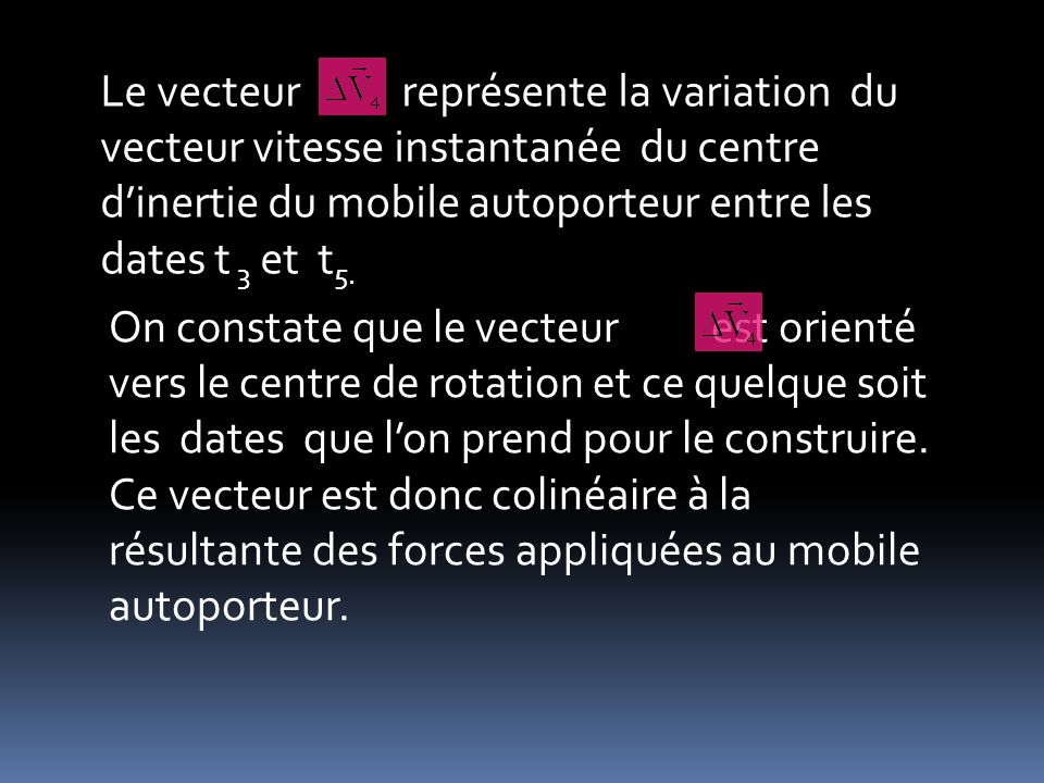 Le vecteur représente la variation du vecteur vitesse instantanée du centre d'inertie du mobile autoporteur entre les dates t 3 et t5.