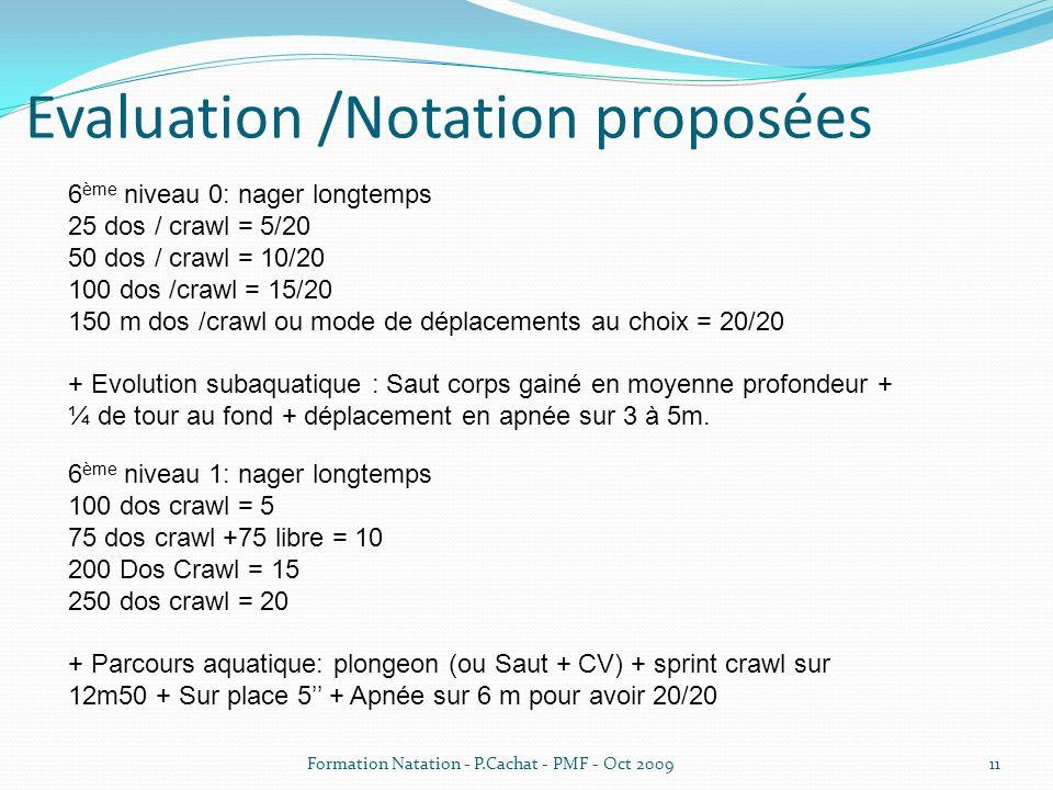 Evaluation /Notation proposées