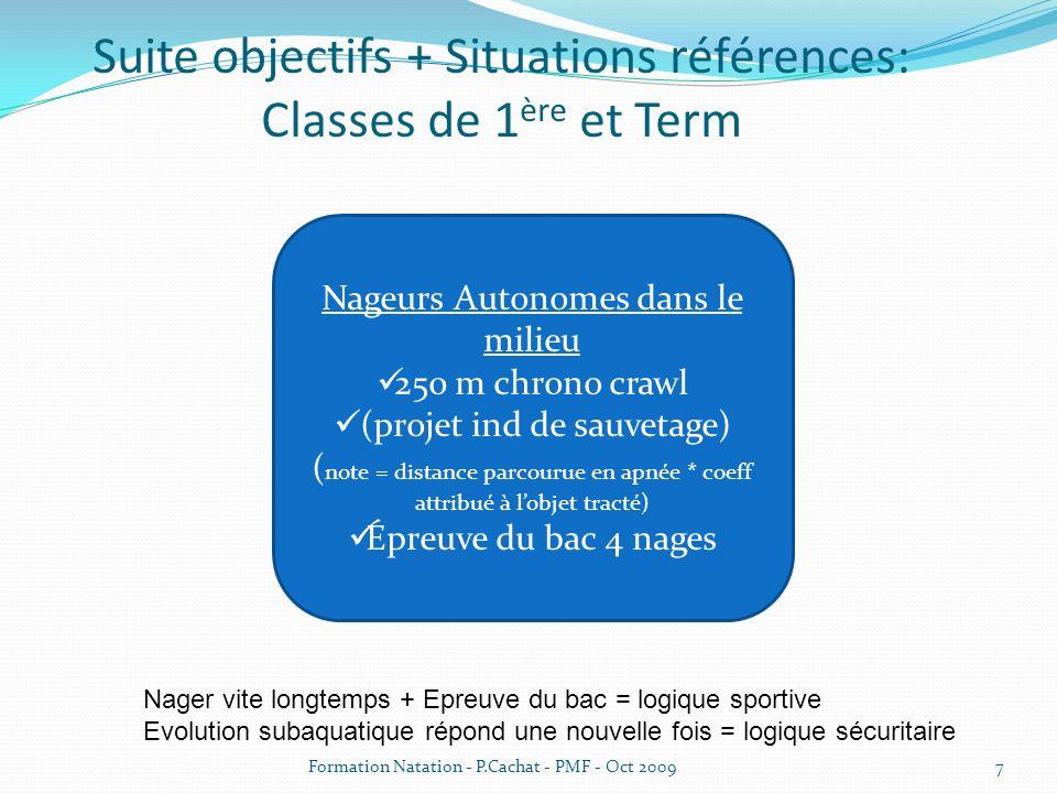 Suite objectifs + Situations références: Classes de 1ère et Term