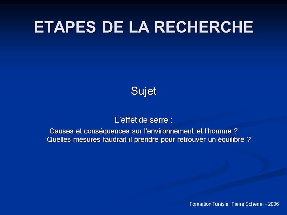 ETAPES DE LA RECHERCHE Sujet L'effet de serre :