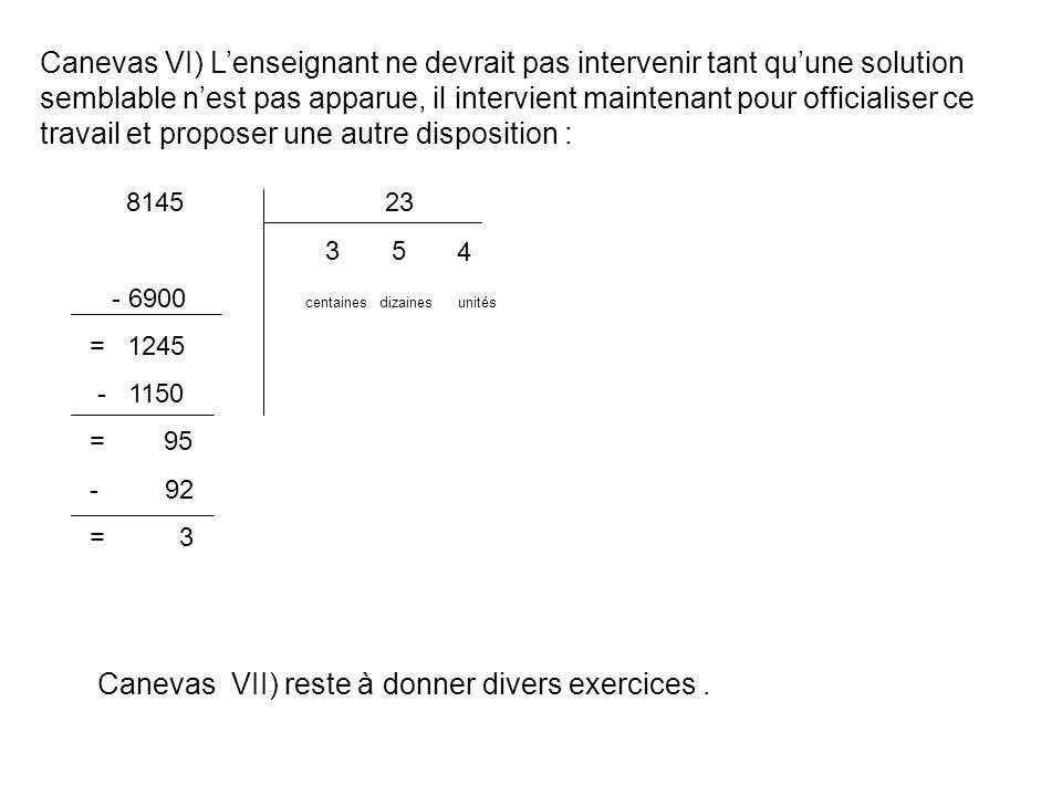 Canevas VII) reste à donner divers exercices .