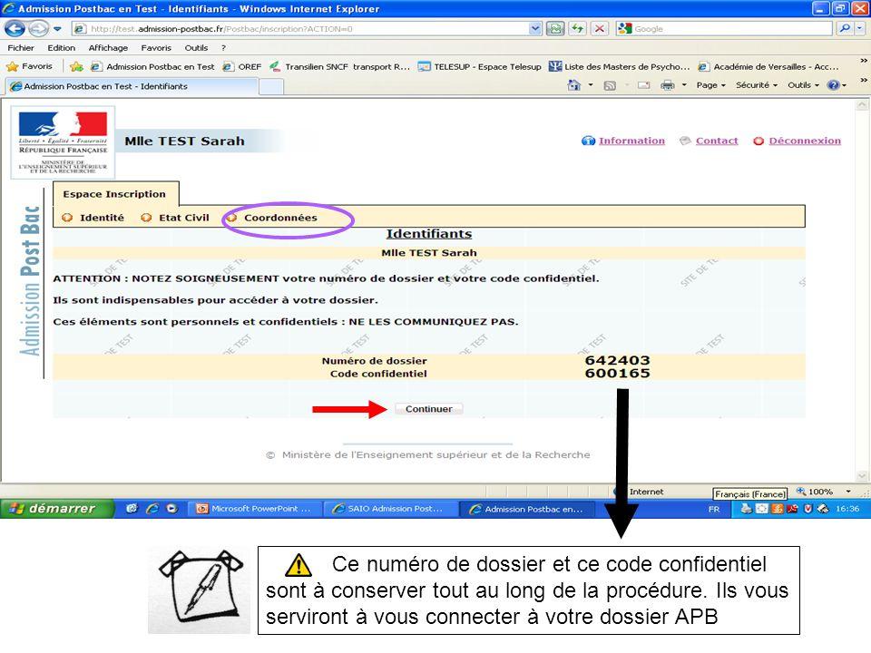 Ce numéro de dossier et ce code confidentiel sont à conserver tout au long de la procédure.