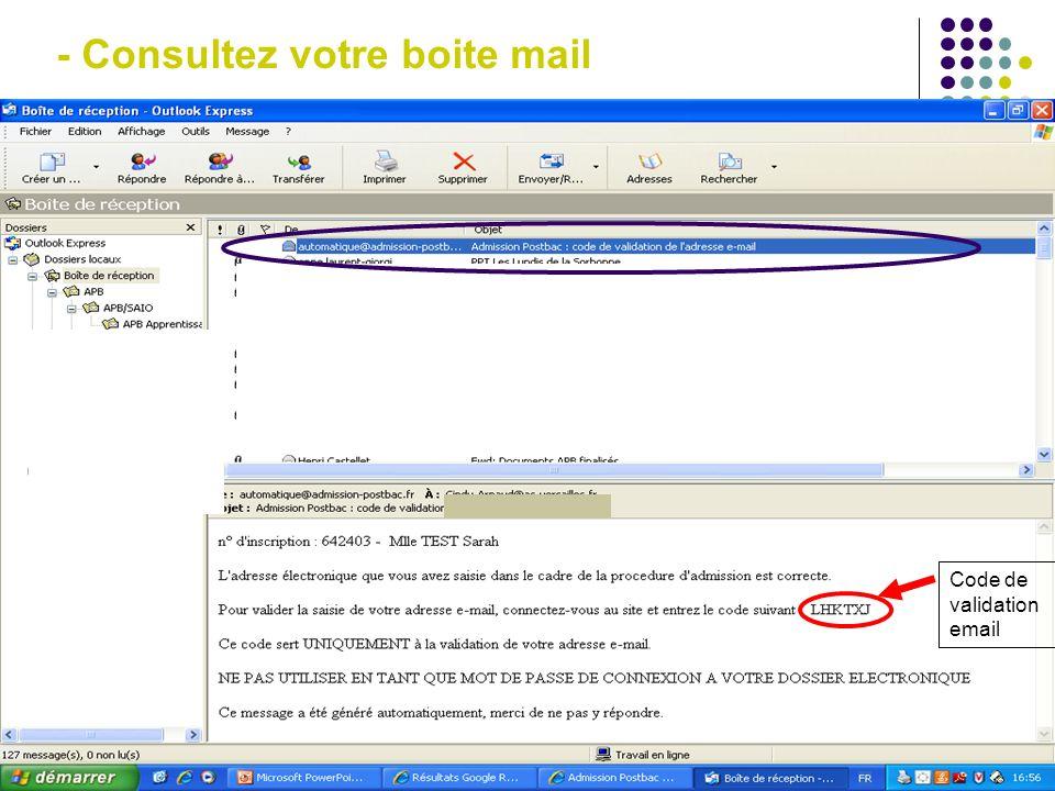 - Consultez votre boite mail