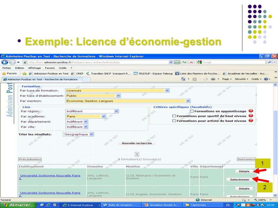 Exemple: Licence d'économie-gestion