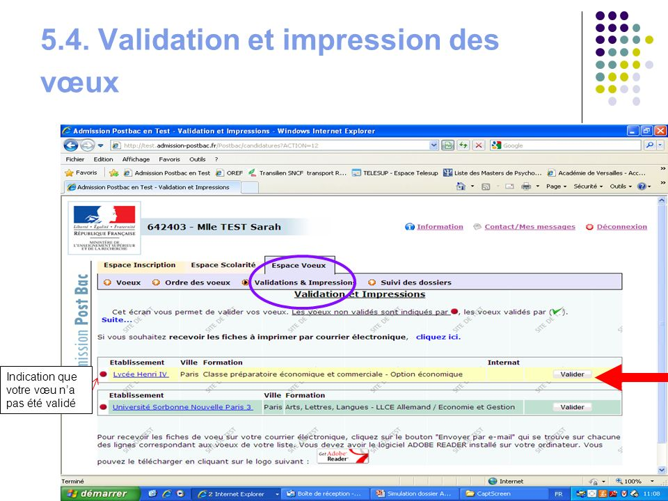 5.4. Validation et impression des vœux