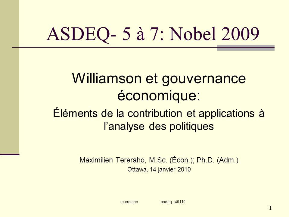ASDEQ- 5 à 7: Nobel 2009 Williamson et gouvernance économique: