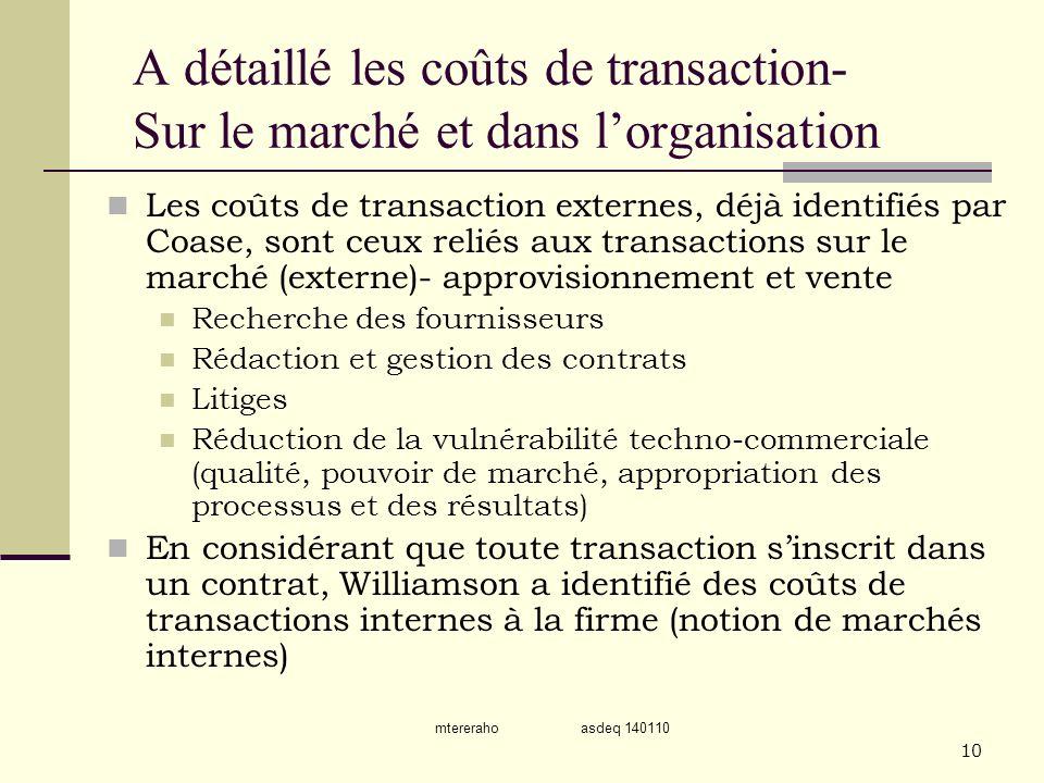 A détaillé les coûts de transaction- Sur le marché et dans l'organisation