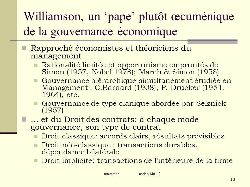Williamson, un 'pape' plutôt œcuménique de la gouvernance économique