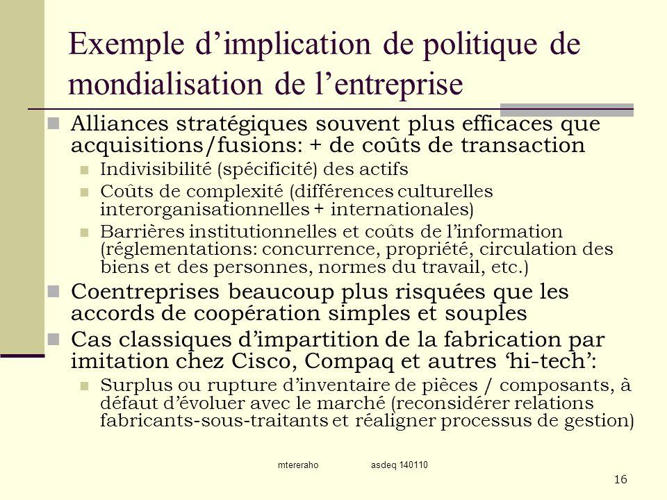 Exemple d'implication de politique de mondialisation de l'entreprise