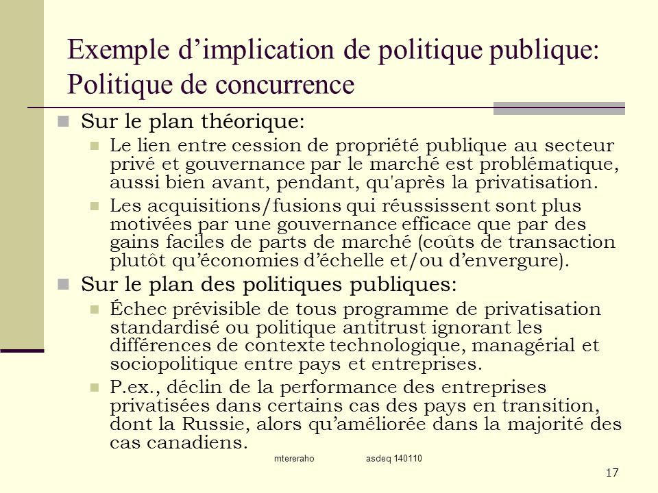 Exemple d'implication de politique publique: Politique de concurrence