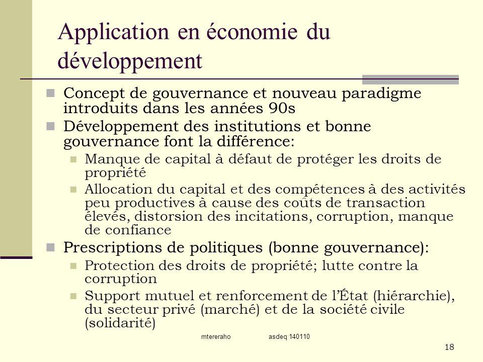 Application en économie du développement
