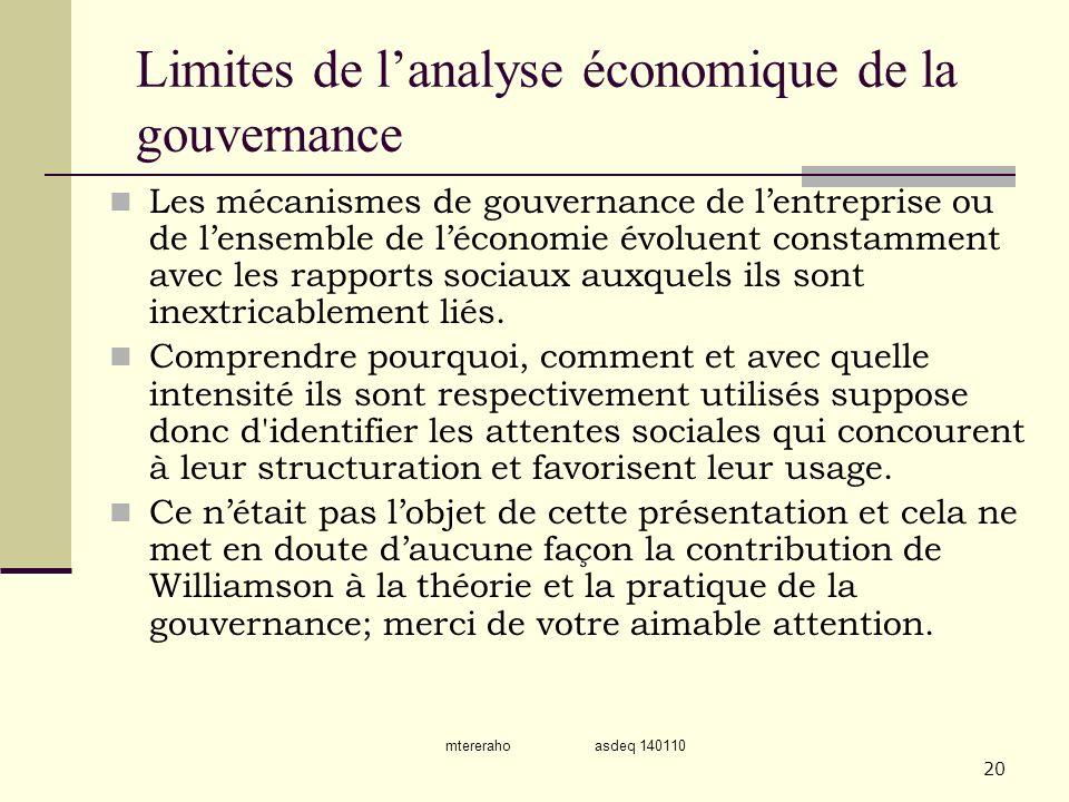 Limites de l'analyse économique de la gouvernance
