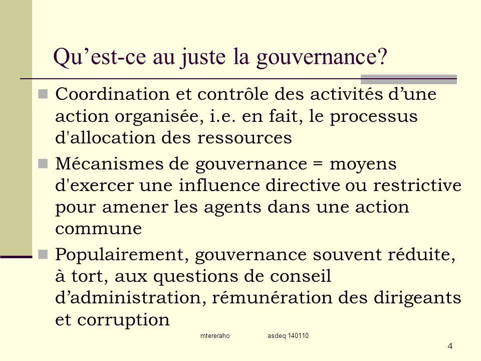 Qu'est-ce au juste la gouvernance