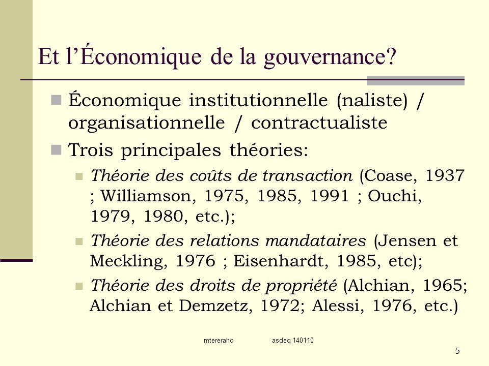 Et l'Économique de la gouvernance