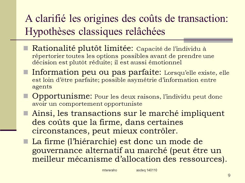 A clarifié les origines des coûts de transaction: Hypothèses classiques relâchées