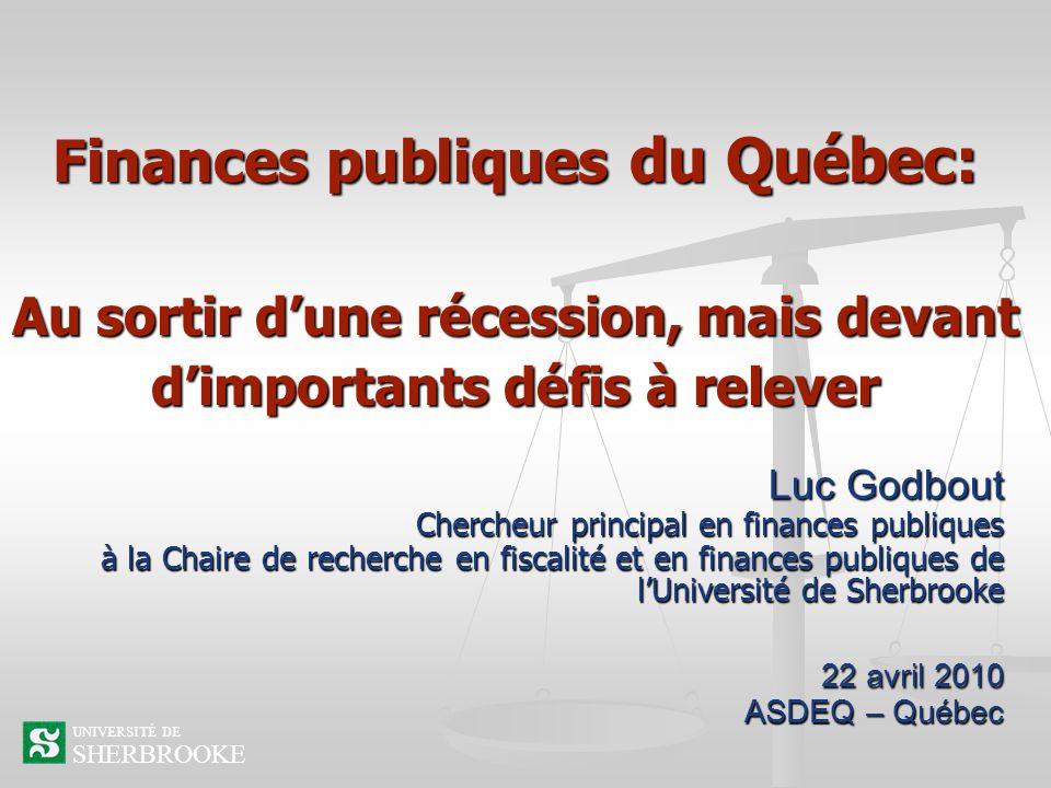 Finances publiques du Québec: Au sortir d'une récession, mais devant d'importants défis à relever