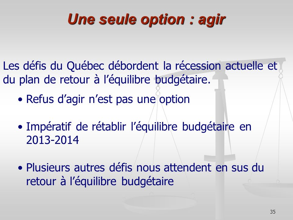 Une seule option : agir Les défis du Québec débordent la récession actuelle et du plan de retour à l'équilibre budgétaire.