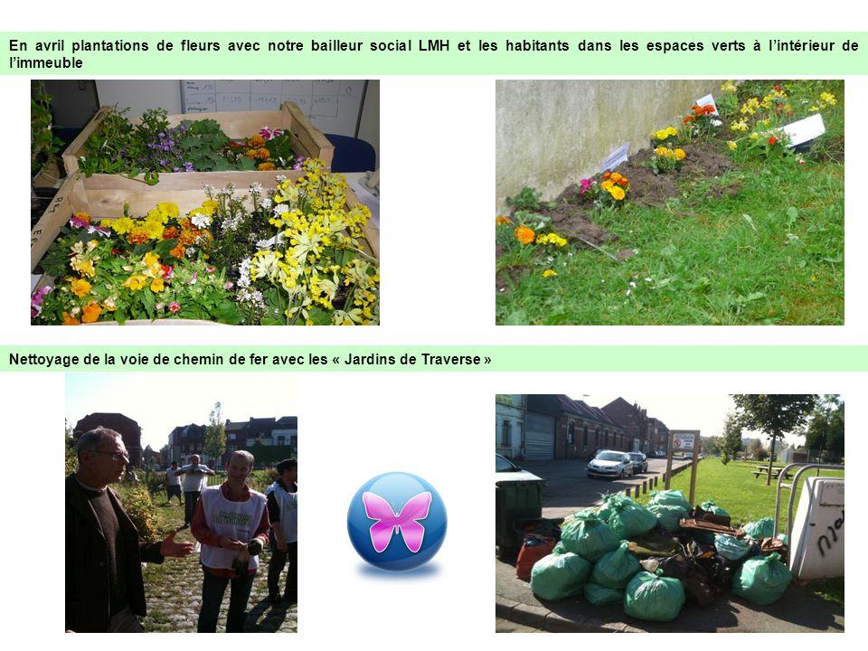 En avril plantations de fleurs avec notre bailleur social LMH et les habitants dans les espaces verts à l'intérieur de l'immeuble
