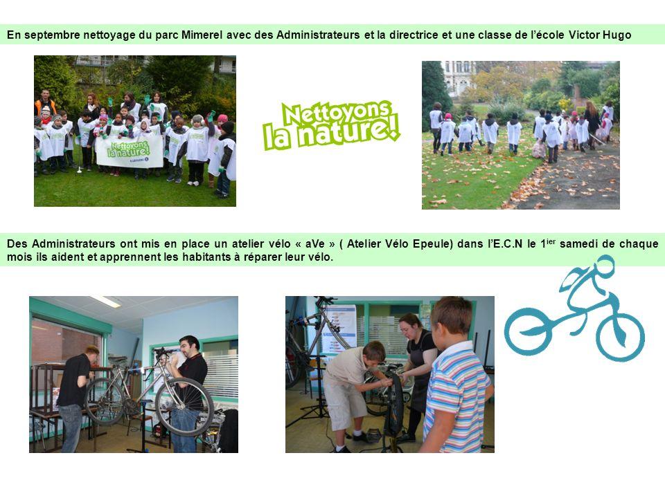 En septembre nettoyage du parc Mimerel avec des Administrateurs et la directrice et une classe de l'école Victor Hugo