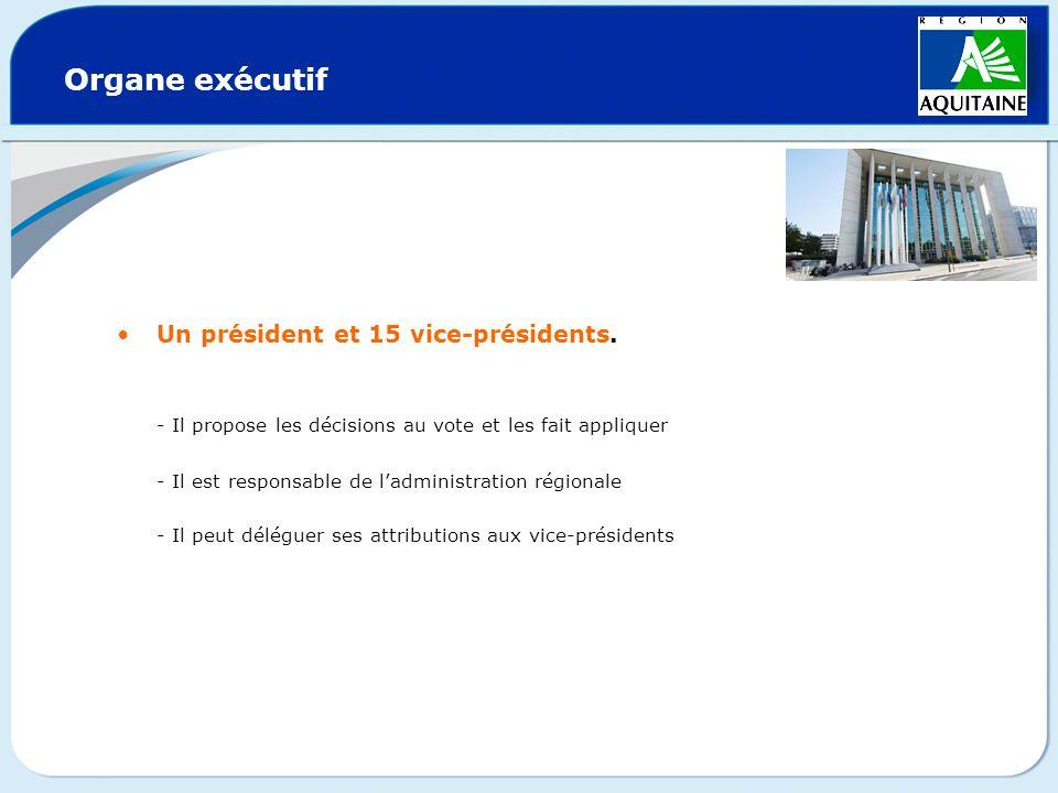 Organe exécutif Un président et 15 vice-présidents. - Il propose les décisions au vote et les fait appliquer.