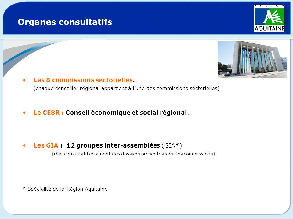 Organes consultatifs Les 8 commissions sectorielles.