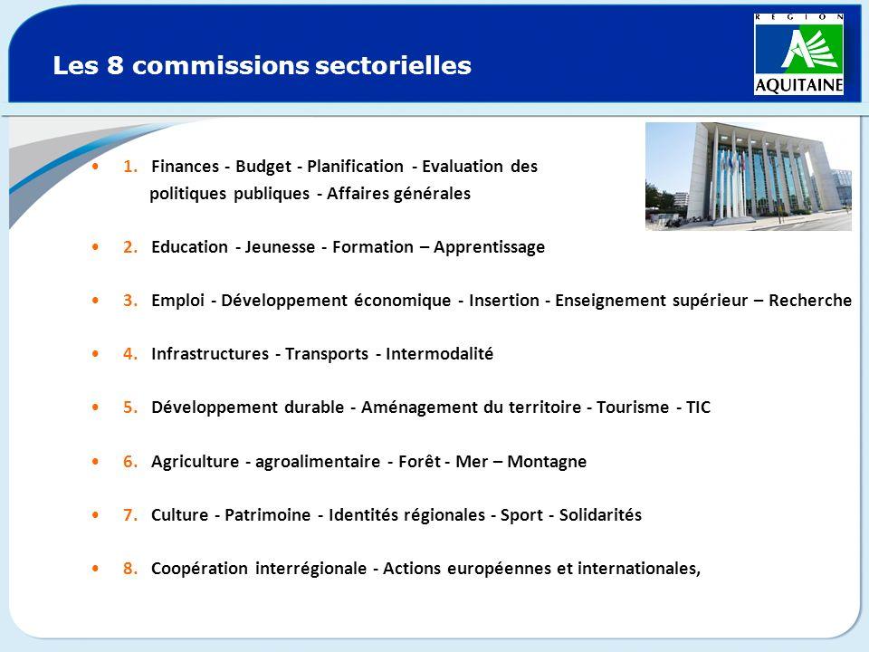 Les 8 commissions sectorielles