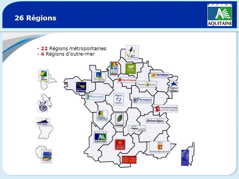 26 Régions 22 Régions métropolitaines 4 Régions d'outre-mer
