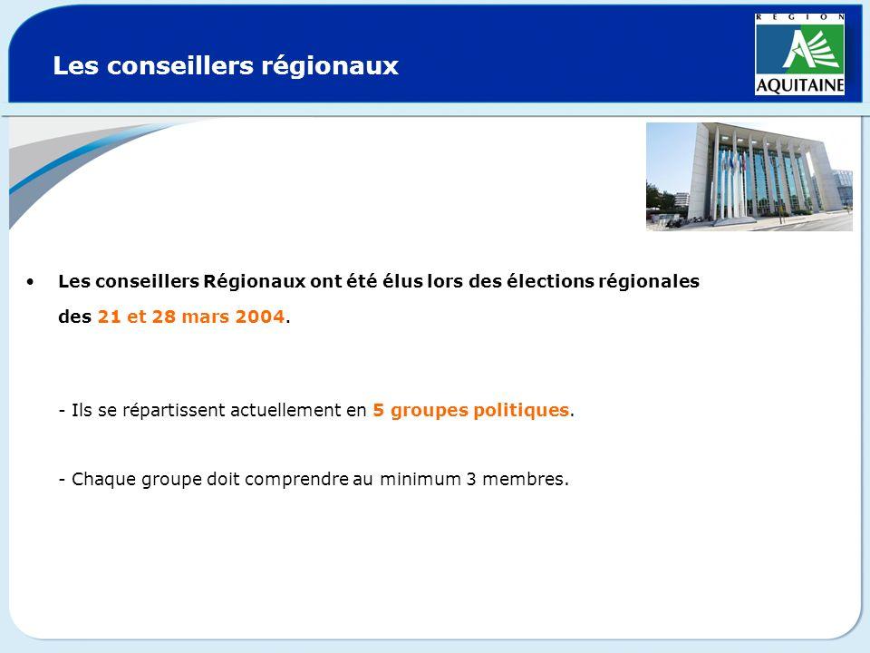 Les conseillers régionaux