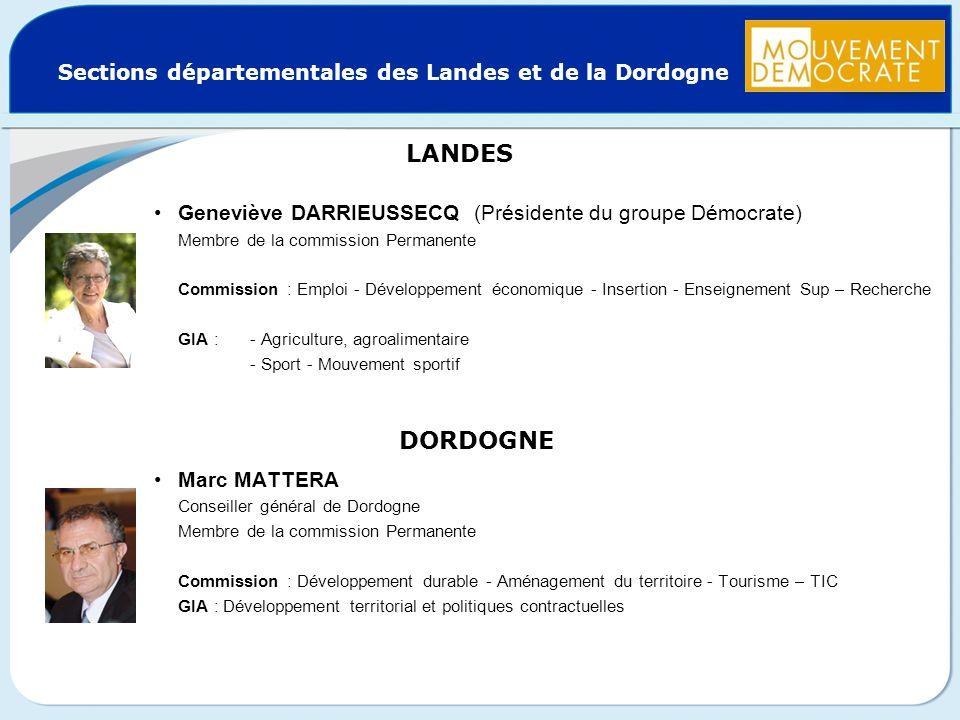 Sections départementales des Landes et de la Dordogne