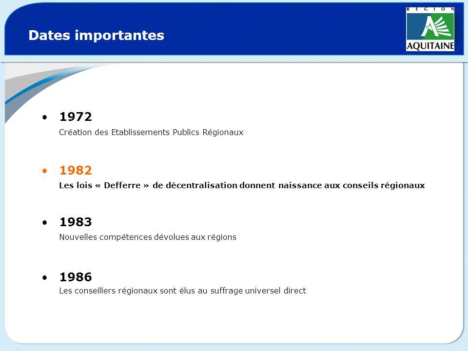 Dates importantes 1972. Création des Etablissements Publics Régionaux. 1982.