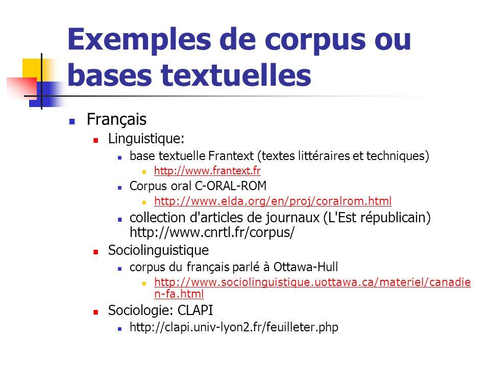 Exemples de corpus ou bases textuelles
