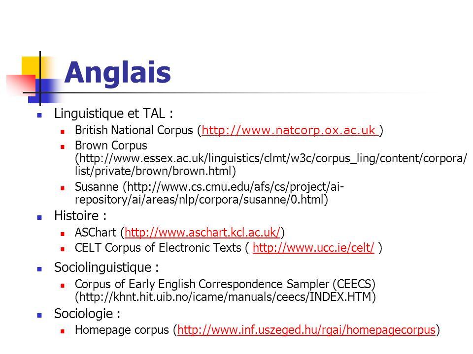 Anglais Linguistique et TAL : Histoire : Sociolinguistique :
