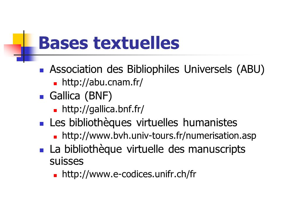 Bases textuelles Association des Bibliophiles Universels (ABU)