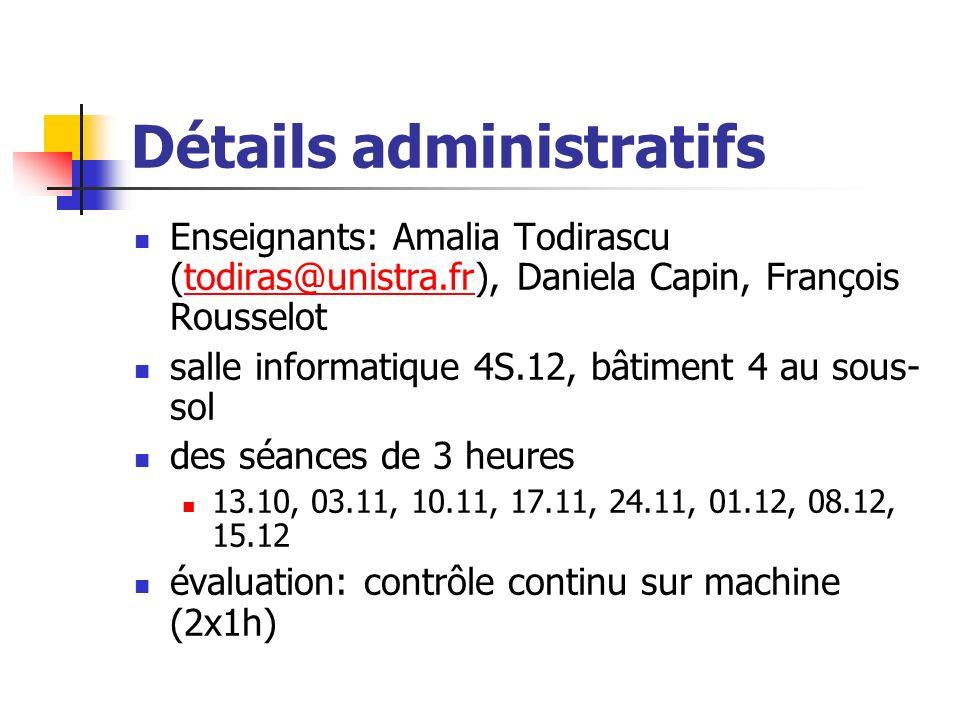 Détails administratifs