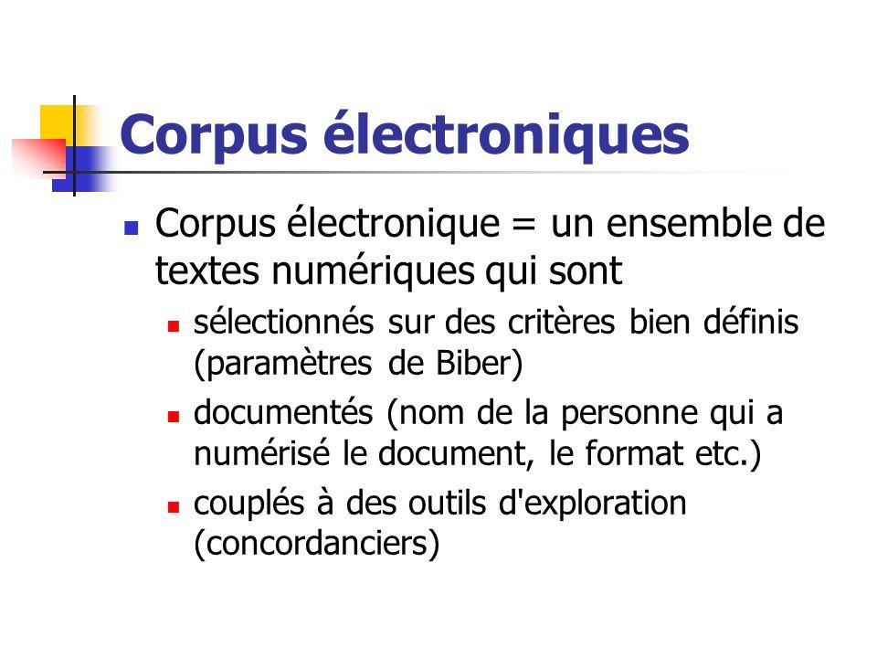 Corpus électroniques Corpus électronique = un ensemble de textes numériques qui sont.