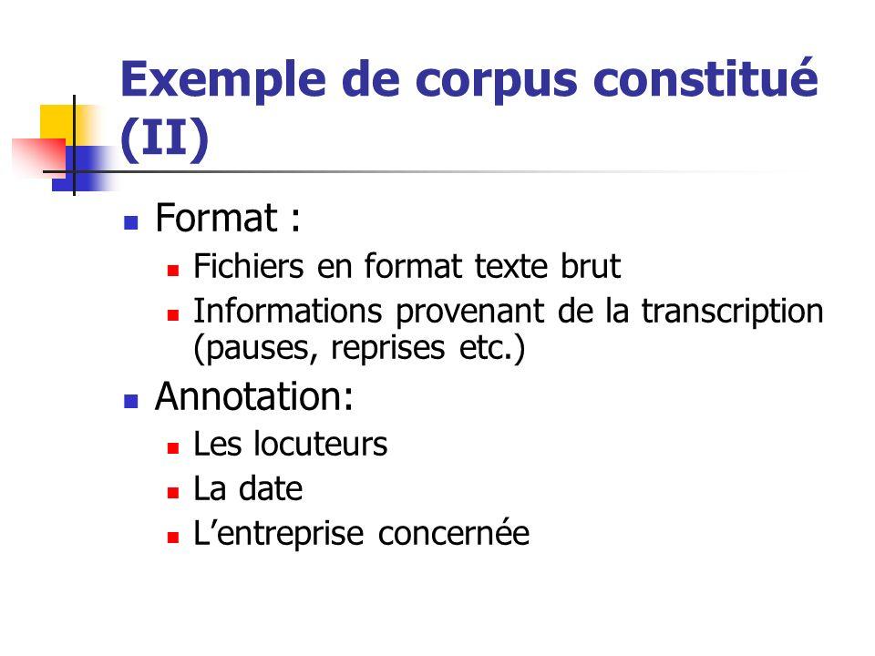 Exemple de corpus constitué (II)