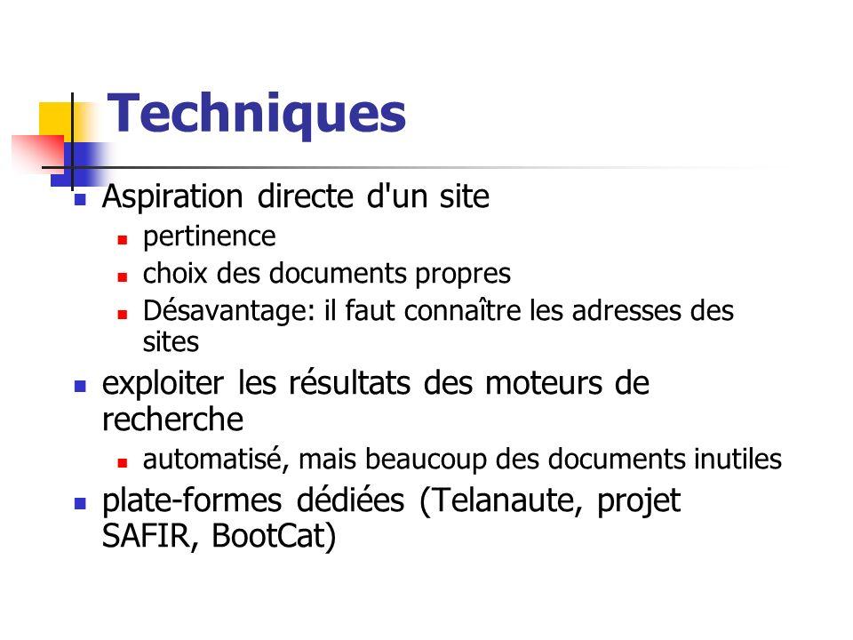 Techniques Aspiration directe d un site