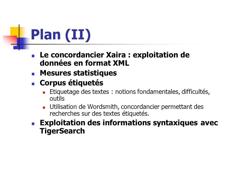 Plan (II)Le concordancier Xaira : exploitation de données en format XML. Mesures statistiques. Corpus étiquetés.