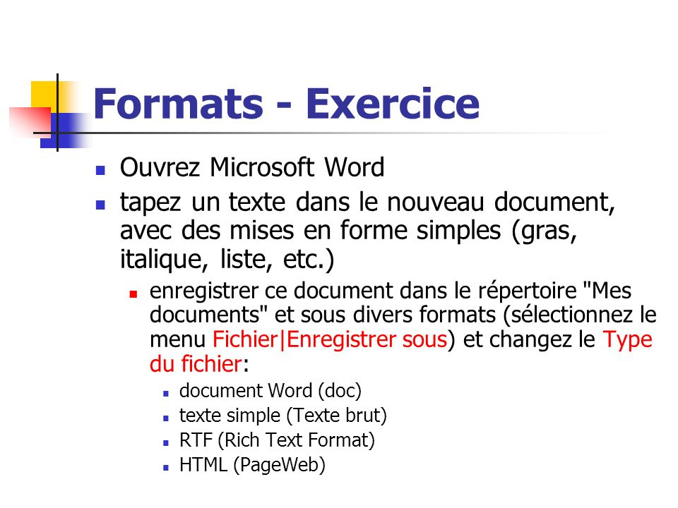 Formats - Exercice Ouvrez Microsoft Word