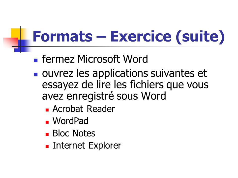 Formats – Exercice (suite)
