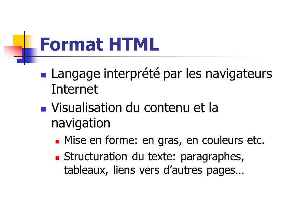 Format HTML Langage interprété par les navigateurs Internet