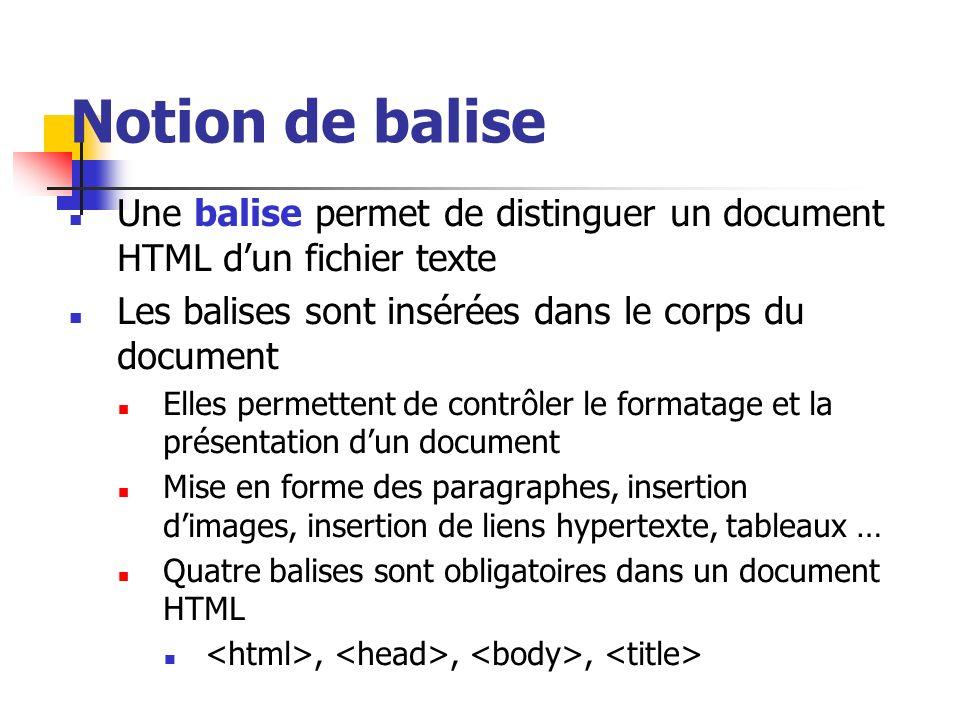 Notion de balise Une balise permet de distinguer un document HTML d'un fichier texte. Les balises sont insérées dans le corps du document.