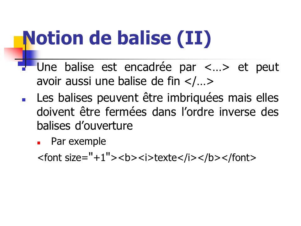 Notion de balise (II) Une balise est encadrée par <…> et peut avoir aussi une balise de fin </…>