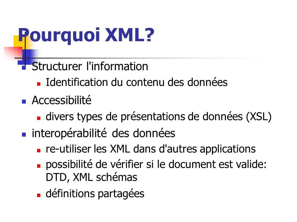 Pourquoi XML Structurer l information Accessibilité
