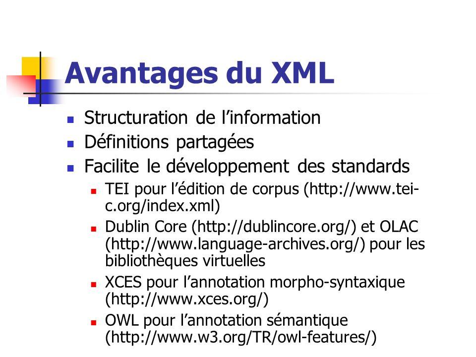 Avantages du XML Structuration de l'information Définitions partagées