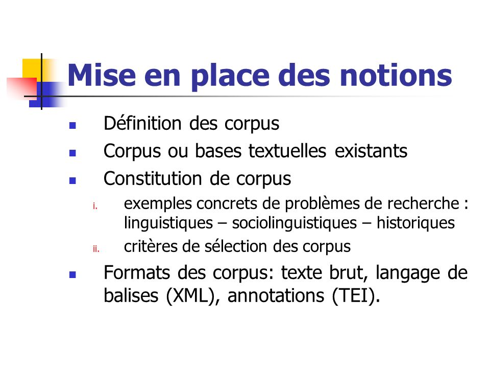 Mise en place des notions