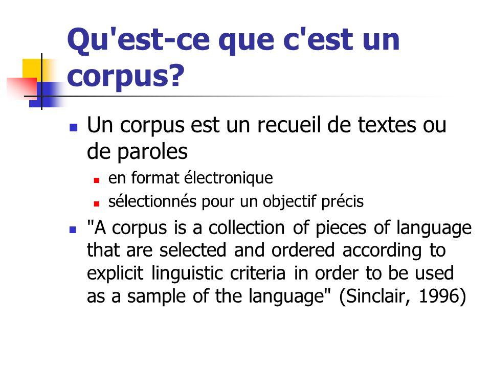 Qu est-ce que c est un corpus