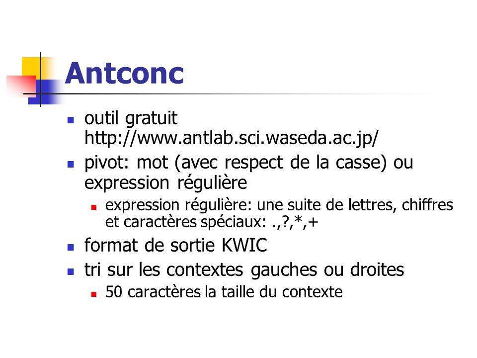Antconc outil gratuit http://www.antlab.sci.waseda.ac.jp/