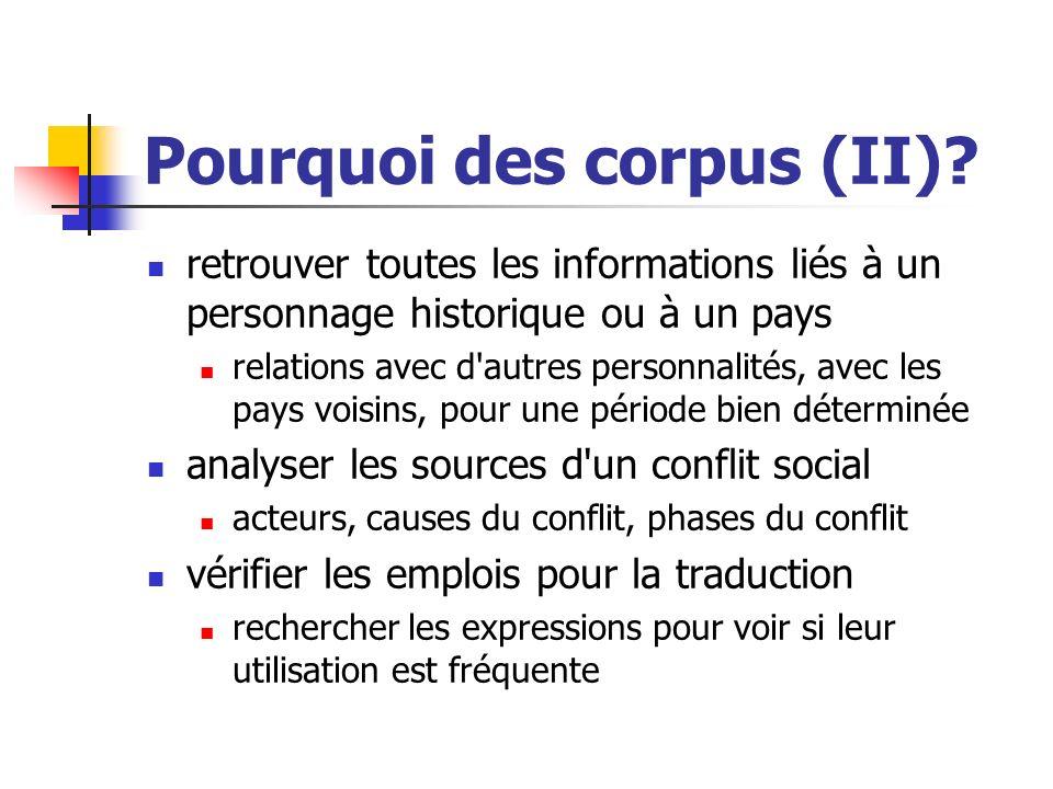 Pourquoi des corpus (II)